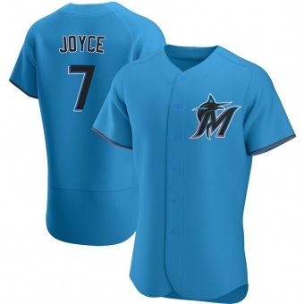 Men's Matt Joyce Miami Blue Authentic Alternate Baseball Jersey (Unsigned No Brands/Logos)