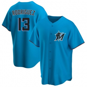 Men's Sean Rodriguez Miami Blue Replica Alternate Baseball Jersey (Unsigned No Brands/Logos)