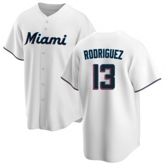 Men's Sean Rodriguez Miami White Replica Home Baseball Jersey (Unsigned No Brands/Logos)