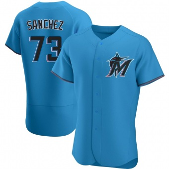 Men's Sixto Sanchez Miami Blue Authentic Alternate Baseball Jersey (Unsigned No Brands/Logos)