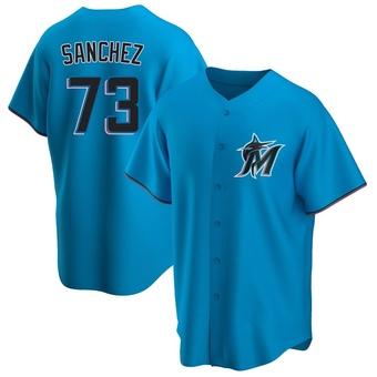 Men's Sixto Sanchez Miami Blue Replica Alternate Baseball Jersey (Unsigned No Brands/Logos)