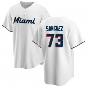 Men's Sixto Sanchez Miami White Replica Home Baseball Jersey (Unsigned No Brands/Logos)