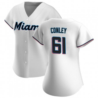 Women's Adam Conley Miami White Authentic Home Baseball Jersey (Unsigned No Brands/Logos)