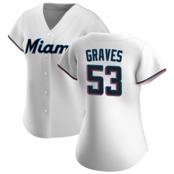 Women's Brett Graves Miami White Authentic Home Baseball Jersey (Unsigned No Brands/Logos)