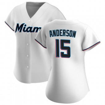 Women's Brian Anderson Miami White Authentic Home Baseball Jersey (Unsigned No Brands/Logos)
