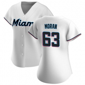 Women's Brian Moran Miami White Authentic Home Baseball Jersey (Unsigned No Brands/Logos)