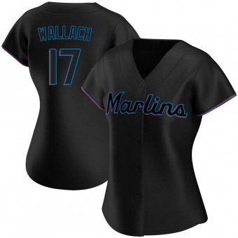 Women's Chad Wallach Miami Black Authentic Alternate Baseball Jersey (Unsigned No Brands/Logos)