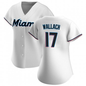 Women's Chad Wallach Miami White Authentic Home Baseball Jersey (Unsigned No Brands/Logos)