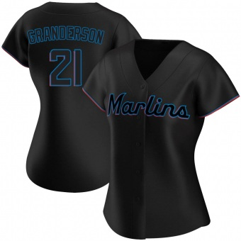 Women's Curtis Granderson Miami Black Authentic Alternate Baseball Jersey (Unsigned No Brands/Logos)