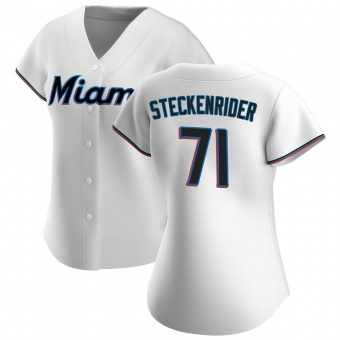 Women's Drew Steckenrider Miami White Authentic Home Baseball Jersey (Unsigned No Brands/Logos)