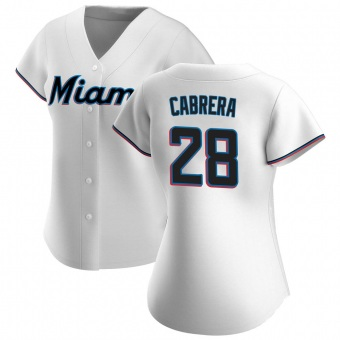 Women's Edward Cabrera Miami White Authentic Home Baseball Jersey (Unsigned No Brands/Logos)