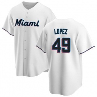 Youth Pablo Lopez Miami White Replica Home Baseball Jersey (Unsigned No Brands/Logos)